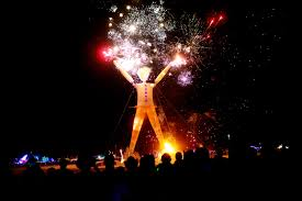 Burning Man with fireworks
